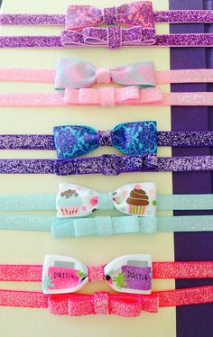 2pc set glitter shiny elastic with a cute bow you choose your favorite set on Etsy, $11.95