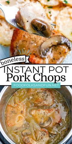 Tender Pork Chops, Pork Chops And Gravy, Mushroom Pork Chops, Boneless Pork Chops, Potluck Recipes, Delicious Dinner Recipes, Side Dish Recipes, Appetizer Recipes, Crockpot Recipes