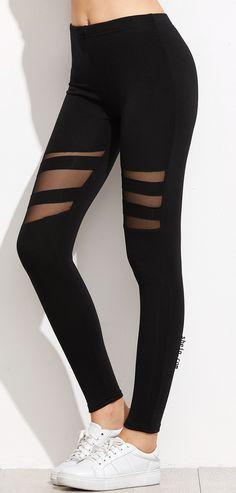 22a0101f0ec01 Black Mesh Insert Leggings Leggings Style, Black Leggings, Leggings  Fashion, Leggings Are Not