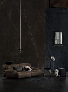 ✿ Black interior home deco Home Interior Design, Interior Architecture, Interior And Exterior, Interior Decorating, Room Interior, Decorating Tips, Yellow Photography, Dark Walls, Dark Interiors