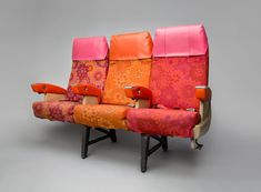 There are times I really miss the riot of colour inside a seventies / early eighties jet. These are seats from a PSA 727.