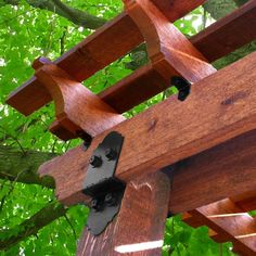 The OWT Ornamental Wood Ties 2 in. Post To Beam Decorative Structural Wood Connector includes hardware for attaching beam to post for standard 2 in. Wood Pergola, Deck With Pergola, Pergola Patio, Pergola Plans, Pergola Kits, Pergola Ideas, Pergola Cover, Patio Ideas, Backyard Ideas