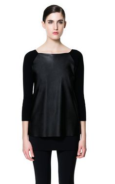 JUMPER WITH FAUX LEATHER FRONT - Knitwear - Woman - ZARA United States