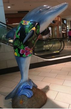 """Wata"" dolphin, by artist Silas Beach, is on display at Westfield Countryside Mall in Clearwater.  Go see his sister ""Kale"" too!"