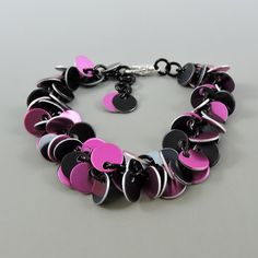 Chainmail Bracelet, Pink & Black Chainmaille Bracelet, Chain Mail Jewelry, Cha Cha Bracelet, Goth Jewelry by HCJewelrybyRose on Etsy