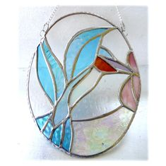 Kingfisher Picture Stained Glass Suncatcher Oval - The British Craft House Craft House, Turquoise Glass, Kingfisher, Water Drops, Suncatchers, Bright Pink, Home Crafts, Pink Flowers, Iridescent