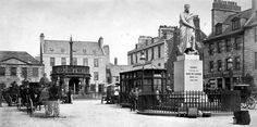 Old photograph of the Duke Of Gordon statue in Aberdeen, Scotland