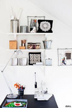 White shelves for office