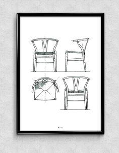 Art Print: Wishbone Y-chair von Hans Wegner. http://www.wohnbeiwerk.de/bomedo-art-print-wegner-y-chair-schwarz-weiss.html