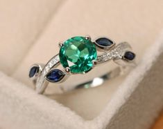 Ct Round Cut Green Emerald Solitaire Engagement Ring White Gold Over Green Emerald Ring, Emerald Cut Rings, Blue Topaz Ring, Pear Cut Engagement Rings, Solitaire Engagement, Malachite Jewelry, Green Gemstones, Size 10 Rings, Or Rose