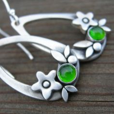 Summer Happiness Chrome Diopside Sterling Silver Earrings PMC Artisan Jewelry