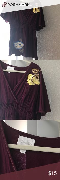 Dark purple anthropologie top Adorable flowy top from Anthro. Embroidered flowers Anthropologie Tops