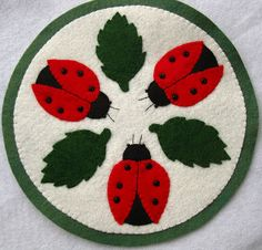 Lady Bug Wool Felt Candle Mat by SonoranExpressions on Etsy, $18.00
