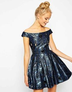 ASOS Off Shoulder Jewel Jacquard Bardot Prom Dress, $78