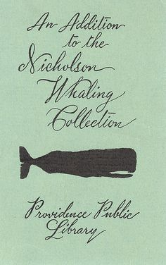 """theshipthatflew: """" Providence Public Library Nicholson Whaling Collection Bookplate, from raising-romulus """""""