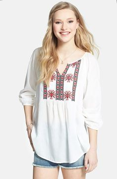 $36, White and Red Embroidered Peasant Blouse: Embroidered Peasant Top by Angie. Sold by Nordstrom. Click for more info: http://lookastic.com/women/shop_items/75615/redirect