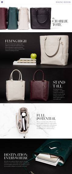 Introducing: The Charlie Tote. Dagne Dover fashion, now in a new leather style.