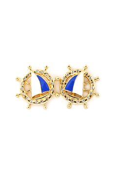 Sailboat Button Earrings