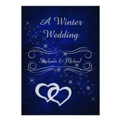 This is a stylish, rich looking winter wedding invitation with the bride and groom first names  in silver within an ornate silver frame. Overlapping silver hearts and a spray of silver stars complete the front. The images and silver gray text are placed on a dramatic deep royal blue gradient background. The back holds your wedding text in silver on the same blue background. Pretty! #winterwonderland