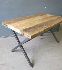 Reclaimed Industrial Chic X End 6-8 Seater Solid Wood & Metal Dining Table.Bar and Cafe Restaurant Furniture Steel Wood Made to Measure by RccFurniture on Etsy https://www.etsy.com/uk/listing/204304949/reclaimed-industrial-chic-x-end-6-8