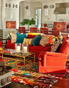 Bold lampshades and candles really drive home the Bohemian look of the lounge