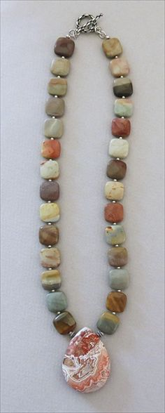 Handmade Mexican lace agate and Jasper necklace