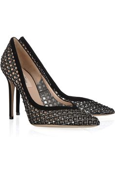 Valentino crystal-embellished suede and mesh pumps