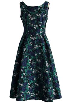 Green Floret Land Embossed Prom Dress - New Arrivals - Retro, Indie and Unique Fashion
