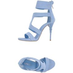 Le Silla Sandals ($622) ❤ liked on Polyvore featuring shoes, sandals, heels, sky blue, round cap, leather sole sandals, heeled sandals, le silla shoes and round toe shoes