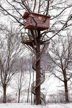 Tree house, in France. have this in backyard with a zip line coming form the man cave!!!