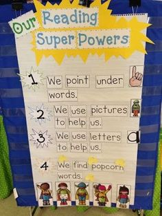 Dex and Our Reading Super Powers: this could definitely be adapted to Academy.different levels practice attaining different super powers.use color-coded mini pocket charts.goes right along with power goals and our cape! Kindergarten Anchor Charts, Reading Anchor Charts, Kindergarten Classroom, Superhero Classroom, Classroom Ideas, Journeys Kindergarten, Kindergarten Reading Strategies, Superhero Behavior, Readers Workshop Kindergarten