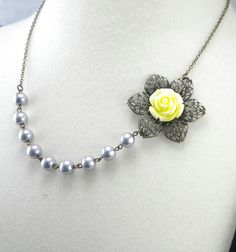 yellow and grey wedding | Yellow and Gray Wedding Flower Necklace by cymbaline84 on Etsy