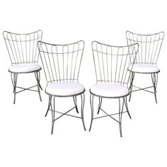 Brushed Steel Wire Frame Garden Patio Dining Chair Set by Salterini | From a unique collection of antique and modern dining room chairs at https://www.1stdibs.com/furniture/seating/dining-room-chairs/
