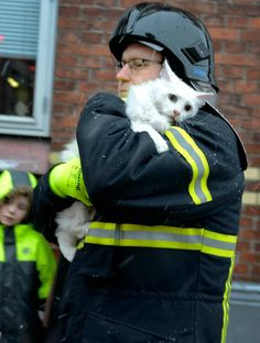 A fireman comforts a scared cat he rescued from an apartment building fire in Denmark. 1-14-2013. Photo: Soren Gylling for jv.dk