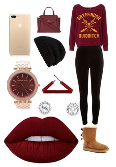 """Burgundy baby"" by maurieab on Polyvore featuring UGG, River Island, Kate Spade, Rick Owens, Michael Kors and Lime Crime"