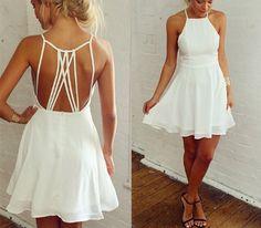 Fabric: Chiffon  Color: White  Size : S, M, L, XL