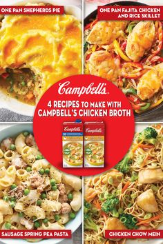 Discover 4 delicious recipes you can make with Campbell's® Chicken Broth Chicken Broth Recipes, Meat Recipes, Cooking Recipes, Healthy Recipes, Delicious Recipes, Recipies, Tasty, Chow Mein Au Poulet, Cambells Recipes