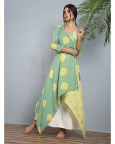 Buy The Secret Label Green And Yellow Peshwa pastel angrakha Kurti online in India at best price.This features a peshwa attire inspired angrakha in pastel hues in modal silk with double tie-ups and Kurti Patterns, Dress Patterns, Kurta Designs, Blouse Designs, Indian Dresses, Indian Outfits, Stylish Dresses, Fashion Dresses, Mode Cool