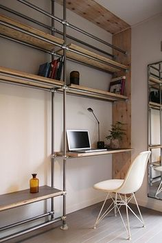 Diy Casa, Pipe Furniture, Small Living, My Room, Room Interior, Interior Architecture, Shelving, Diy Home Decor, Interior Decorating