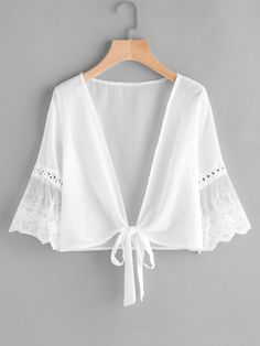 Shop Embroidered Mesh Fluted Sleeve Self Tie Kimono online. SheIn offers Embroidered Mesh Fluted Sleeve Self Tie Kimono & more to fit your fashionable needs. Plus Size Women's Tops, Plus Size Blouses, Women's Blouses, Chiffon Kimono, Chiffon Tops, Mode Inspiration, Lace Fabric, Lace Silk, Blouse Designs