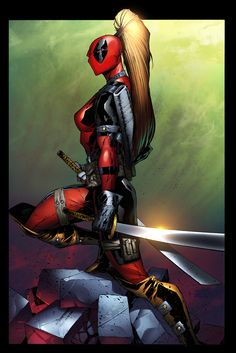 Adelso Corona Lady Deadpool by ~Mystic-Oracle on deviantART Comic Book Characters, Marvel Characters, Comic Character, Comic Books Art, Comic Art, Lady Deadpool, Deadpool Art, Female Deadpool, Wolverine Avengers