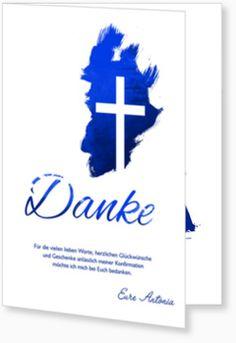 Dankeskarte - Kreuz in Blau