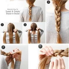In a hurry but still want to look stylish?  Try this sweet simple braid in braid from Divine Caroline. @weavel