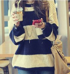 Stripes Jumpers Chunky Knit Sweater