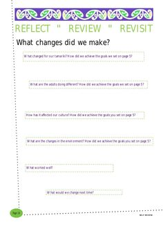 """What changes did we make?   SELF REVIEW   Page 16   REFLECT """" REVIEW """" REVISIT   What changed for our tamariki? How did we ach..."""