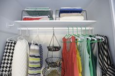 Closet Hacks! Use a tiered metal hanger to store accessories, wire shelves to store more sweaters, and a partition sock organizer for ties and belts  http://blog.diynetwork.com/maderemade/2014/05/07/spring-cleaning-fever-diy-customized-closets/?soc=pinterest