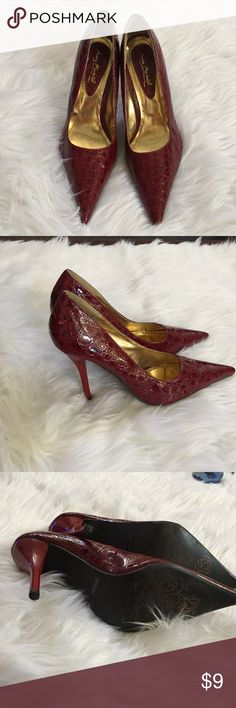 Burgundy crocodile style shoes Burgundy crocodile pattern Shoes, these shoes have been used only inside 2 times, doesn't show any significant damage, just sitting in my closet Ann Michell Shoes Heels