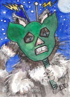 #ACEO #Cat at A #Costume Party Watercolor Original Art Halloween Alien Kitten   eBay