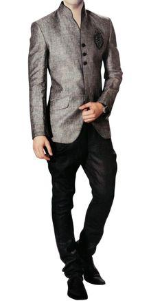 INMONARCH Mens Royal Linen Jodhpuri Suit JO169 52L Gray