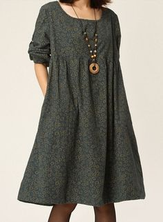 Loose Fitting Maxi Dress - Spring, Autumn Dress in Blue Green Orange Long Sleeve Cotton dress Linen dress for WomenC133
